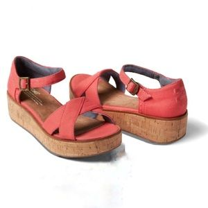 Toms Coral Canvas Harper Wedge Ankle Sandal Red 11